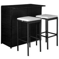 vidaXL Set mobilier bistro cu perne, 3 piese, negru, poliratan