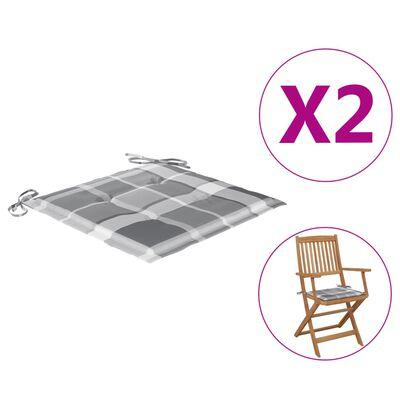 vidaXL Perne scaun grădină 2 buc. gri model carouri 40x40x4 cm, textil