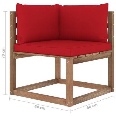 vidaXL Set mobilier grădină paleți, cu perne, 4 piese, lemn pin tratat