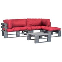 vidaXL Set mobilier de grădină din paleți cu perne roșii 4 piese lemn