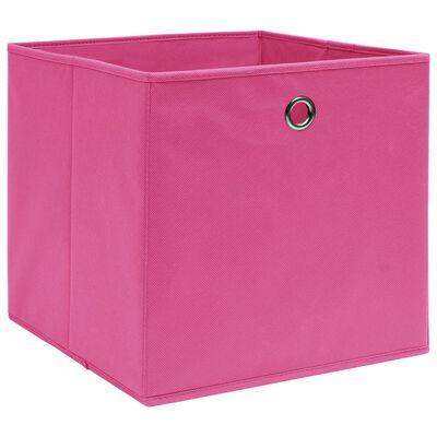 vidaXL Cutii depozitare, 10 buc., roz, 28x28x28 cm, material nețesut