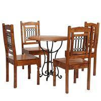 vidaXL Set masă bucătărie 5 piese lemn masiv acacia finisaj sheesham