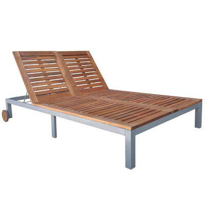 vidaXL Șezlong cu pernă, 2 pers, lemn masiv de acacia și oțel