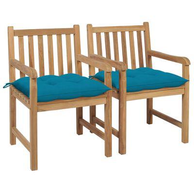 vidaXL Scaune grădină, perne albastru deschis, 2 buc., lemn masiv tec