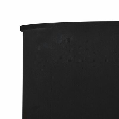 vidaXL Paravan anti-vânt cu 6 panouri, negru, 800 x 80 cm, textil