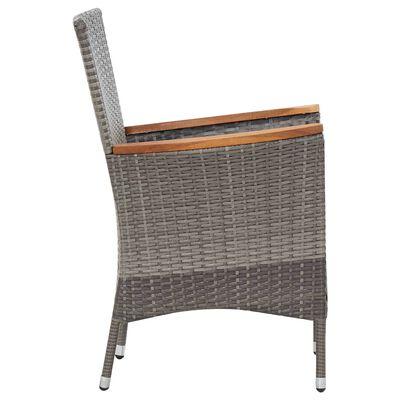vidaXL Set mobilier de grădină cu perne, 7 piese, gri, poliratan