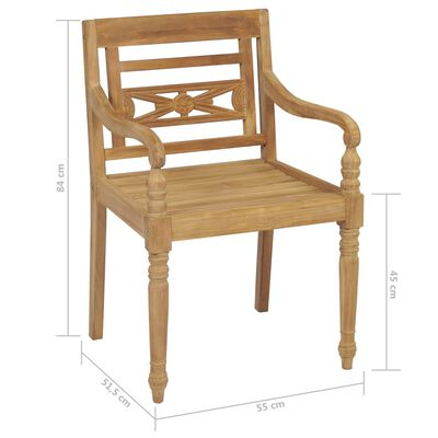 vidaXL Scaune Batavia cu perne antracit, 2 buc., lemn masiv de tec