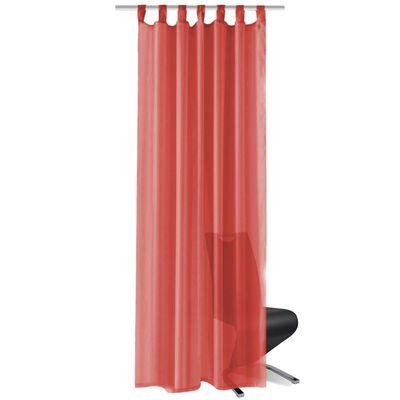 vidaXL Draperii din voal, 2 buc., 140x175 cm, roșu