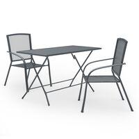 vidaXL Set mobilier de grădină, 3 piese, antracit, oțel