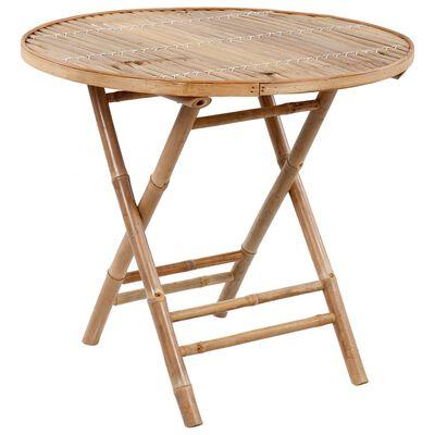 vidaXL Set mobilier de exterior pliabil, cu perne, 5 piese, bambus