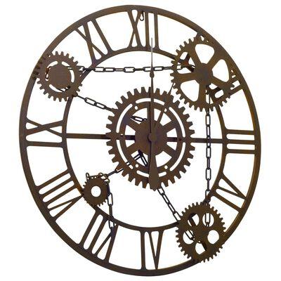 vidaXL Ceas de perete, maro, 80 cm, metal