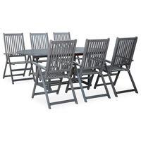 vidaXL Set mobilier de exterior, 7 piese, gri, lemn masiv de acacia