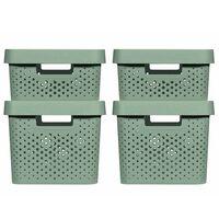 Curver Set cutii depozitare Infinity, 4 buc., verde, cu capac, 11L+17L