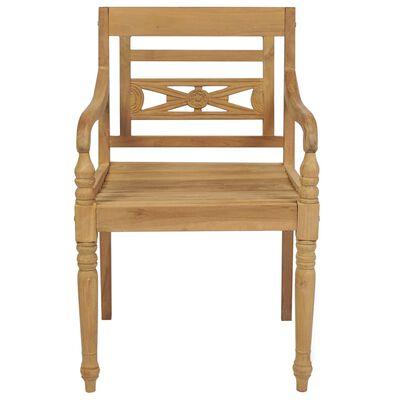vidaXL Scaune Batavia cu perne, 4 buc., lemn masiv de tec