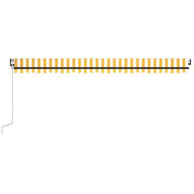 vidaXL Copertină retractabilă automat, galben și alb, 500x350 cm