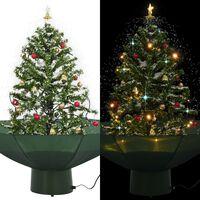 vidaXL Brad de Crăciun cu ninsoare și bază umbrelă, verde, 75 cm