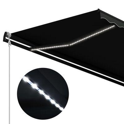 vidaXL Copertină retractabilă cu senzor vânt & LED antracit 400x300 cm