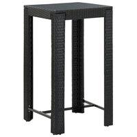 vidaXL Masă de bar de grădină, negru, 60,5 x 60,5 x 110,5 cm poliratan