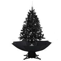 vidaXL Brad de Crăciun cu ninsoare și bază umbrelă, negru, 140 cm, PVC