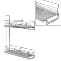 vidaXL Coș sârmă bucătărie retractabil 2 rafturi argintiu 47x15x54,5cm