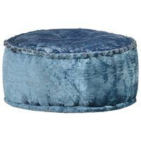 vidaXL Fotoliu puf rotund, albastru, 40 x 20 cm, catifea