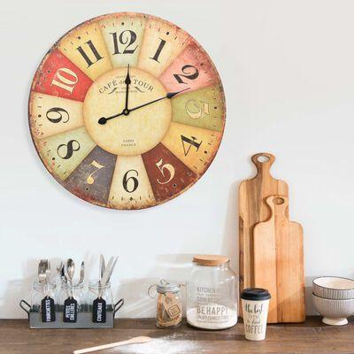 vidaXL Ceas de perete vintage colorat, 60 cm