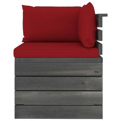 vidaXL Set mobilier grădină paleți, cu perne, 9 piese, lemn masiv pin