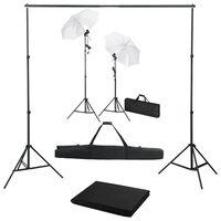 vidaXL Kit studio foto cu fundal, lămpi și umbrele