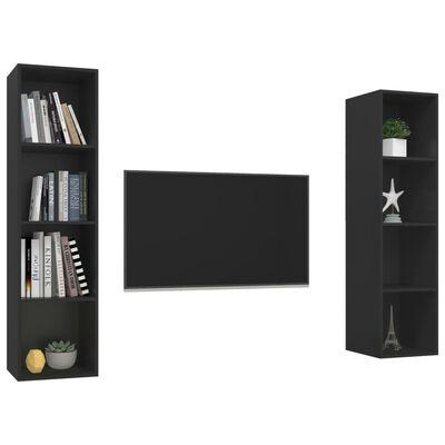 vidaXL Dulapuri TV montaj pe perete, 2 buc., negru, PAL