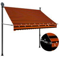 vidaXL Copertină retractabilă manual cu LED, portocaliu & maro, 200 cm