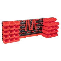 vidaXL Set cutii depozitare 80 piese cu panouri de perete, roșu&negru