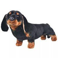 vidaXL Câine din pluș de jucărie dachshund, negru, XXL