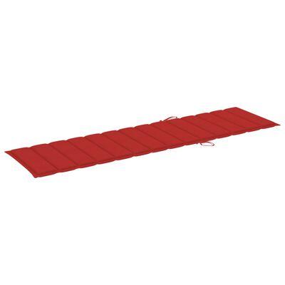 vidaXL Șezlonguri, 2 buc., cu pernă roșie, lemn masiv de tec