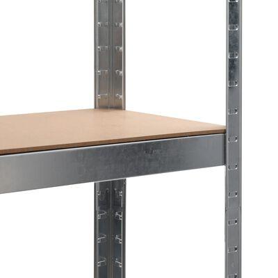 vidaXL Raft depozitare, argintiu, 90x30x180 cm, oțel și MDF