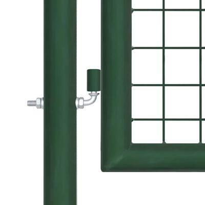 vidaXL Poartă de grădină, verde, 350 x 75 cm, oțel