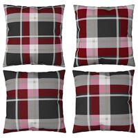 vidaXL Perne decorative 4 buc., roșu carouri 60x60 cm, material textil