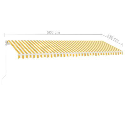 vidaXL Copertină retractabilă manual, galben și alb, 500x350 cm