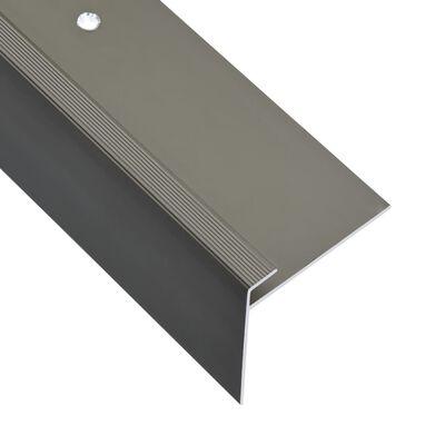 vidaXL Profile trepte în formă de F, 15 buc., maro, 90 cm, aluminiu