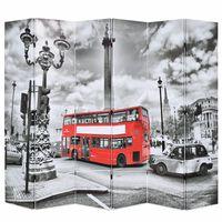 vidaXL Paravan cameră pliabil, 228x170 cm, imprimeu autobuz, negru/alb