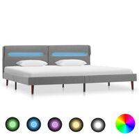 vidaXL Cadru pat cu LED-uri, gri deschis, 160x200 cm, material textil
