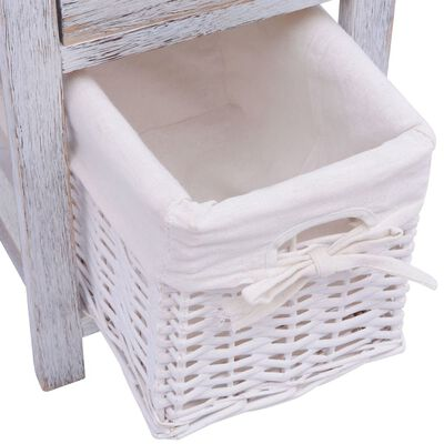 vidaXL Noptieră din lemn, alb