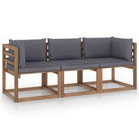 vidaXL Canapea de grădină paleți, 3 locuri, perne antracit, lemn pin