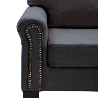 vidaXL Canapea cu 3 locuri, gri închis, material textil