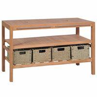vidaXL Dulap de chiuvetă cu 4 coșuri, 132x45x75 cm, lemn masiv de tec