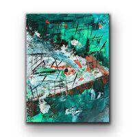 Tablou Pictat Manual In Ulei Green Paradise 40x30 Cm