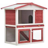 vidaXL Cușcă de iepuri pentru exterior, 3 uși, roșu, lemn