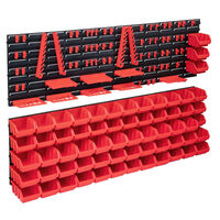 vidaXL Set cutii depozitare 141 piese cu panouri de perete, roșu&negru