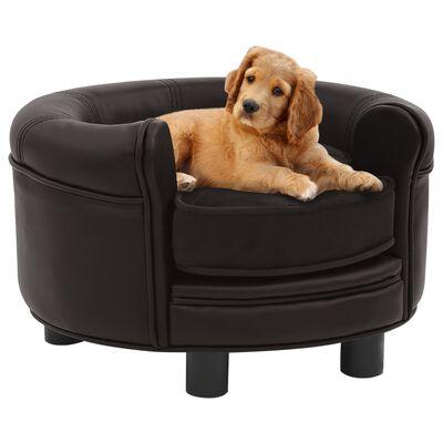 vidaXL Canapea pentru câini, maro, 48x48x32 cm, pluș & piele ecologică