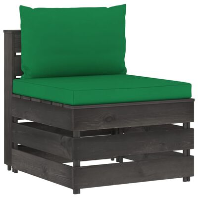 vidaXL Set mobilier grădină cu perne, 6 piese, gri, lemn tratat