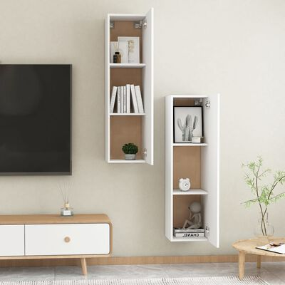 vidaXL Comode TV, 2 buc., alb, 30,5x30x110 cm, PAL